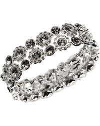 Nine West - Silver-tone Crystal Stretch Bracelet - Lyst
