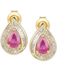 Macy's Certified Ruby (9/10 Ct. T.w.) & Diamond (1/3 Ct. T.w.) Stud Earrings In 14k Gold - Red