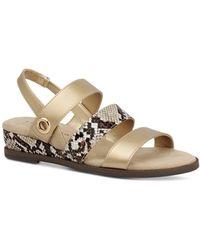 Karen Scott Xeena Three-strap Slingback Sandals, Created For Macy's - Metallic