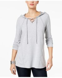 Style & Co. - Lace-up Contrast Hoodie - Lyst
