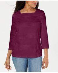 Karen Scott Petite Lace Square-neck 3/4-sleeve Top - Purple