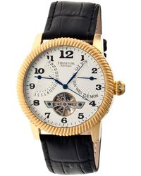 Heritor - Automatic Piccard Gold & Silver Leather Watches 44mm - Lyst