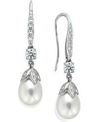 Arabella Bridal Cultured Freshwater Pearl (8mm) And Swarovski Zirconia (1-5/8 Ct. T.w.) Leaf Drop Earrings In Sterling Silver - White