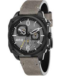 AVI-8 Hawker Hunter Chronograph Retrograde Edition Gray Genuine Leather Strap Watch 45mm