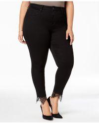 Seven7 - Trendy Plus Size Lace-hem Skinny Jeans - Lyst