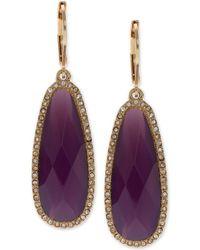 Lonna & Lilly Large Stone Drop Earrings - Purple