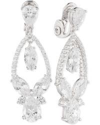 Anne Klein - Multi-crystal And Pavé Orbital Drop Clip-on Earrings - Lyst