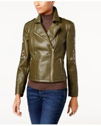 INC International Concepts | Embroidered Faux-leather Moto Jacket | Lyst
