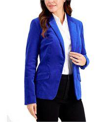Charter Club Petite Velveteen Blazer, Created For Macy's - Blue