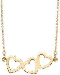 "Sarah Chloe - Triple Heart Pendant Necklace, 16"" + 2"" Extender - Lyst"