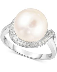 Macy's - Cultured Freshwater Pearl (11mm) & Diamond (1/6 Ct. T.w.) Ring In Sterling Silver - Lyst