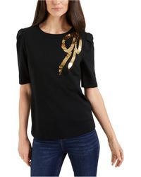 Charter Club Sequin Bow Top, Created For Macy's - Black