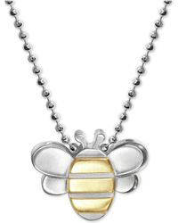 "Alex Woo - Bumble Bee 16"" Pendant Necklace In Sterling Silver & 18k Gold - Lyst"