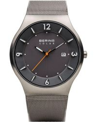 Bering Slim Solar Stainless Case And Mesh Watch - Gray