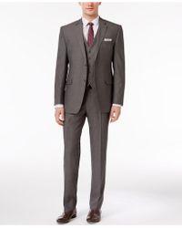 Perry Ellis - Men's Slim-fit Portfolio Gray Herringbone Vested Suit - Lyst