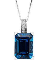 Macy's - 14k White Gold Necklace, London Blue Topaz (9-1/3 Ct. T.w.) And Diamond Accent Emerald Cut Pendant - Lyst