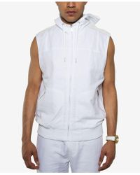 Sean John - White Party Linen Blend Sleeveless Zip-front Hoodie - Lyst