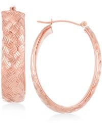 Macy's | Wide Textured Oval Hoop Earrings In 14k Gold | Lyst