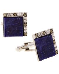 1928 Jewelry Silver-tone Sodalite Square Cufflinks - Blue