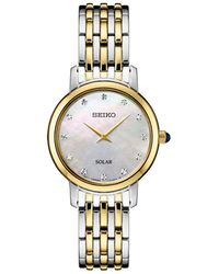 Seiko - Solar Diamond Collection Diamond-accent Two-tone Stainless Steel Bracelet Watch 30mm - Lyst