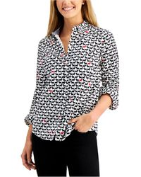 Charter Club Dog-print Cotton Shirt, Created For Macy's, Regular & Petite - Black