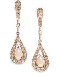 Macy's - Opal (1/2 Ct. T.w.) And Diamond (1/2 Ct. T.w.) Teardrop Earrings In 14k Rose Gold - Lyst