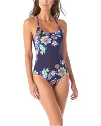 Anne Cole Holiday Paisley Cross-back One-piece Swimsuit - Blue