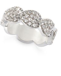 INC International Concepts Inc Silver-tone Crystal Leaf Wrap Ring, Created For Macy's - Metallic
