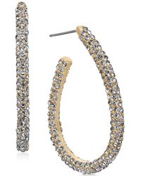 Charter Club - Gold-tone Pavé Elongated Hoop Earrings, Created For Macy's - Lyst