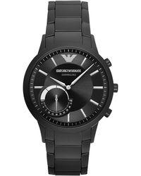 Emporio Armani Men's Renato Black Stainless Steel Bracelet Smart Watch 43mm Art3001