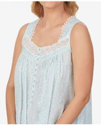 Eileen West Lace-trim Cotton Nightgown - Blue