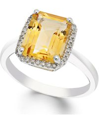 Macy's Citrine (2-2/3 Ct. T.w.) And Diamond (1/10 Ct. T.w.) Ring In 14k White Gold