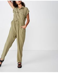 Cotton On Isabella Cap Sleeve Utility Jumpsuit - Green