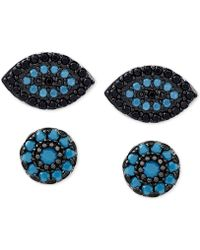 Macy's   2-pc. Set Manufactured Turquoise Evil-eye And Oval Stud Earrings In Sterling Silver   Lyst