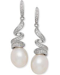 Macy's - Cultured Freshwater Pearl (8mm) & Diamond (1/8 Ct. T.w.) Swirl Drop Earrings In Sterling Silver - Lyst
