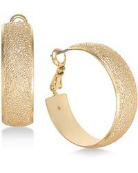 """Charter Club - Medium Gold-tone Wide Textured Hoop Earrings, 1.2"""", Created For Macy's - Lyst"""