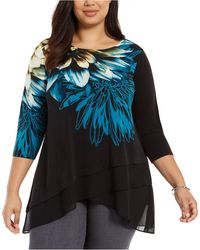 Alfani Plus Size Graphic Tiered Top, Created For Macy's - Black