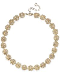 """Charter Club Gold-tone Crystal Openwork Beaded Collar Necklace, 18"""" + 2"""" Extender, Created For Macy's - Metallic"""