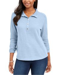 Karen Scott Petite Solid & Printed Collared Top, Created For Macy's - Blue