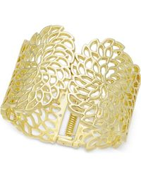 INC International Concepts - I.n.c. Gold-tone Flower Wide Hinged Cuff Bracelet, Created For Macy's - Lyst