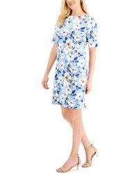 Karen Scott Tea Time Floral-print Dress, Created For Macy's - Blue