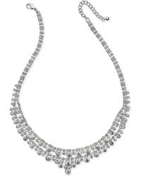Charter Club - Silver-tone Multi-crystal Statement Necklace - Lyst