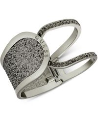 Guess - Hematite-tone Glitter & Stone Hinged Openwork Bangle Bracelet - Lyst