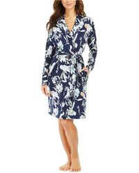 Sesoire Floral-print French Terry Short Wrap Robe - Blue