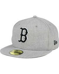 brand new 4d225 f0939 KTZ - Boston Red Sox Heather Black White 59fifty Cap - Lyst
