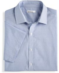Bar Iii Slim-fit Performance Stretch Diamond Windowpane Short Sleeve Dress Shirt, Created For Macy's - Blue