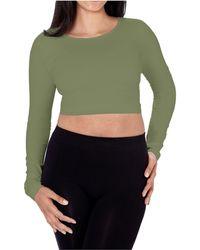 Skinnytees Long Sleeve Crop Top - Green