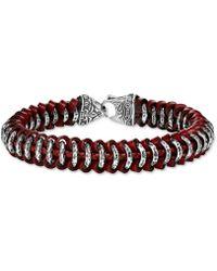 Scott Kay - Red Leather Woven Link Bracelet In Sterling Silver - Lyst