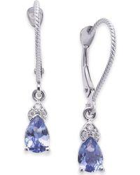 Macy's - Tanzanite (3/4 Ct. T.w.) & Diamond Accent Drop Earrings In 14k White Gold - Lyst