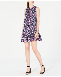 Maison Jules Printed Ruffle Tie-neck Dress, Created For Macy's - Blue